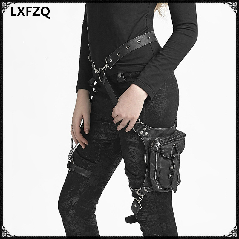 carteras mujer Leather Steam Punk Gothic Shoulder Bag Men women Leather Waist Bag Packs Women Messenger