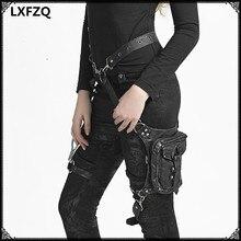 carteras mujer Leather Steam Punk Gothic Shoulder Bag Men women Leather Waist Bag Packs Women Messenger bag fashion leg bag