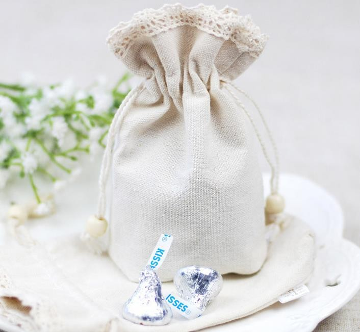 Wedding lace Cotton Linen Favors bag party Christmas candy sugar gift bag wrap Favor Holders coin card purse bags drop shipping