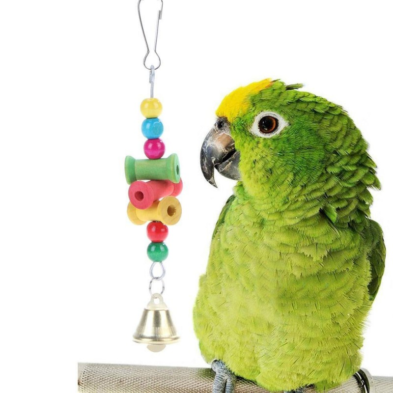 Pet Products Home Pet Birds Toys Hanging Wooden Parrot Bite Chew Toys Decorative Hanging Ornament Toys With Bell For Bird Nest Bird Supplies