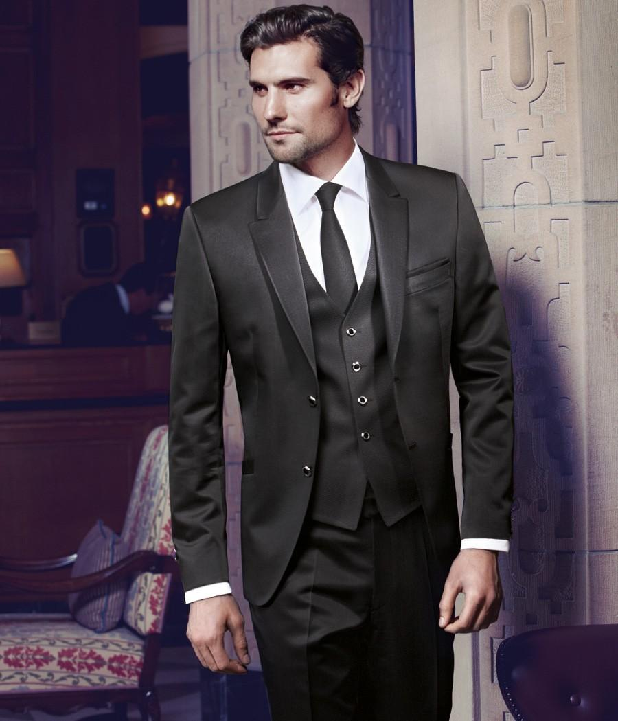 035a5a9795 Custom Made Two Button Black Groom Tuxedos Groomsmen Men s Wedding Prom  Suits (Jacket+Pants+Vest+Tie) K 485