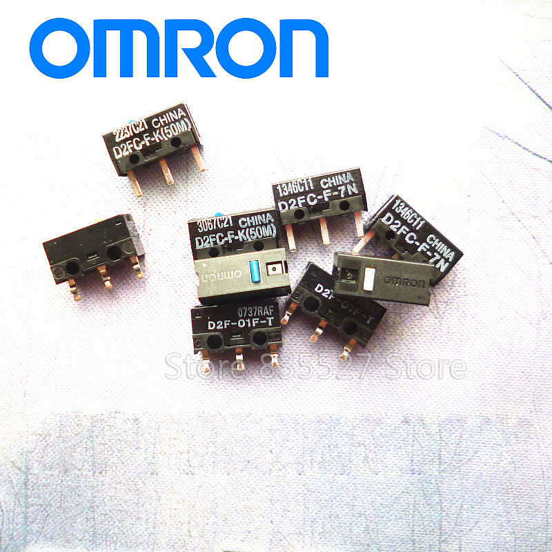 Omron japão mouse micro interruptor D2FC-F-7N ponto branco 10m 20m 50m micromotion mof vermelho azul D2FC-FL 3 m D2FC-F-K D2F-01F-T D2F-F-3-7