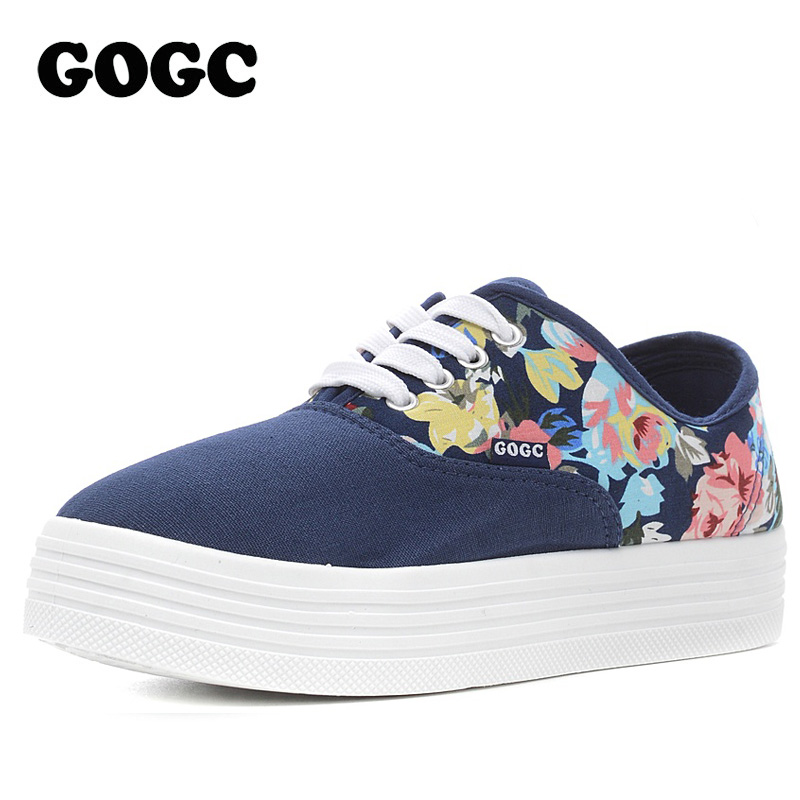 GOGC Flower Women Canvas Shoes for Summer Female Shoes Woman Footwear Height Increase Flat Shoes Women Causal Shoes Platform New
