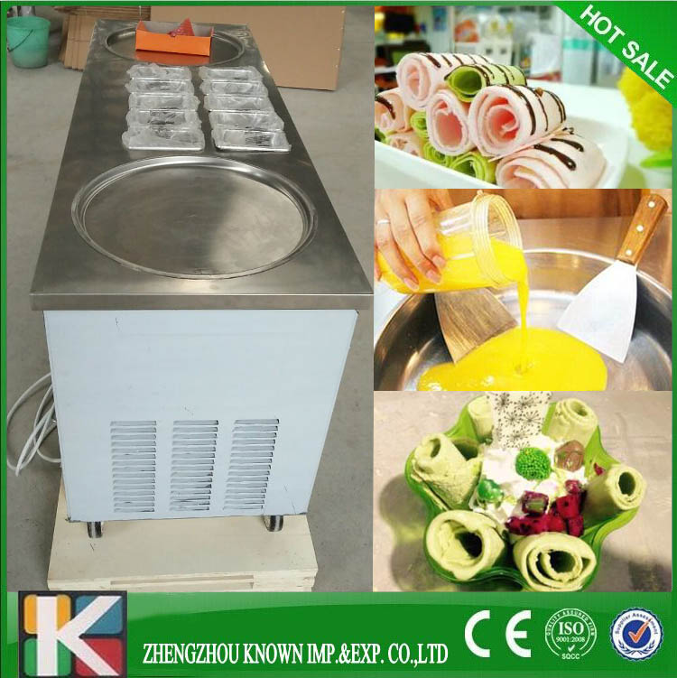 Double round pan big size pan fried ice cream machine