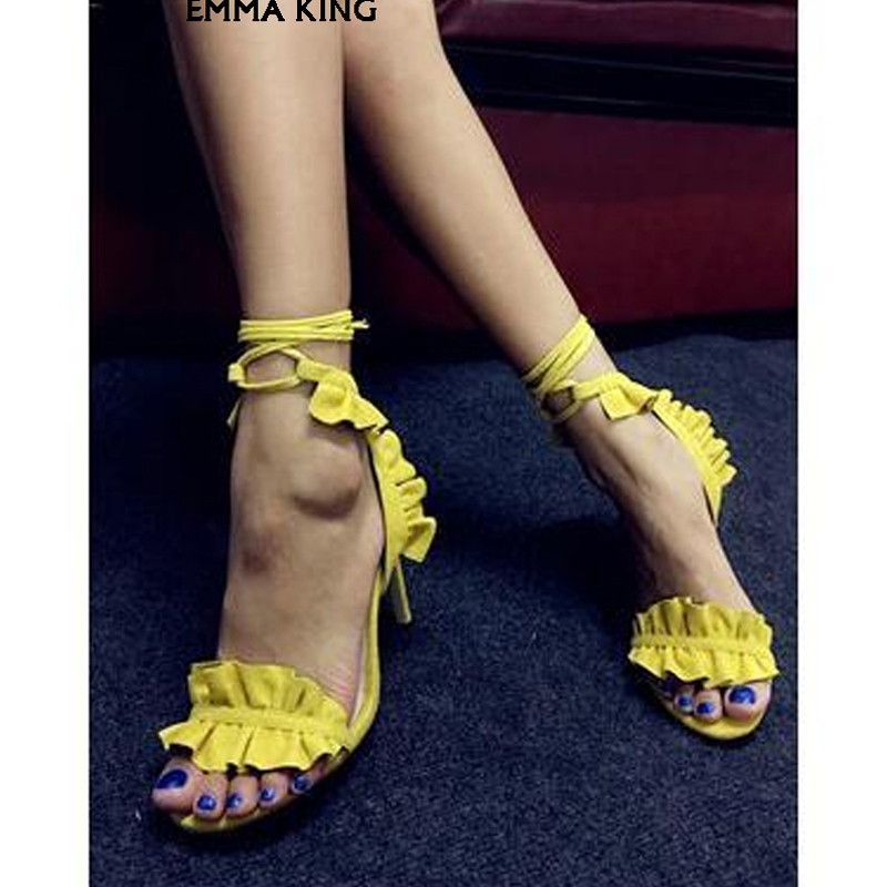 Tacón Femme 2019new marrón amarillo Verano Chaussures La Moda lavanda rojo Mujeres púrpura Tobillo Bombas Volantes Calle Azul Las Zapatos Sandalias Mujer De Cielo Alto Flouncing w0fT0qxRr