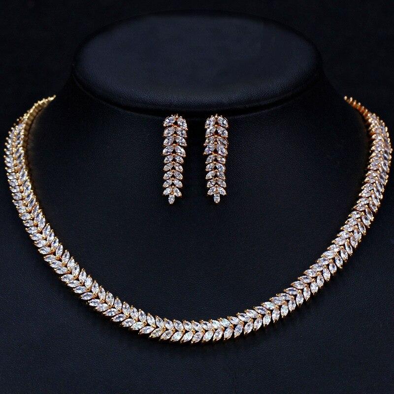 4 Options de Style blanc cristal Zircon or Rose boucles d'oreilles ensemble de bijoux boucle d'oreille collier pendentif M02-T2 - 5