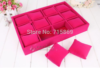 Free Ship 1pcs Rose Color Velvet Bracelet Jewelry Display Pillows Bangle/ Watch Small Storage Tray r