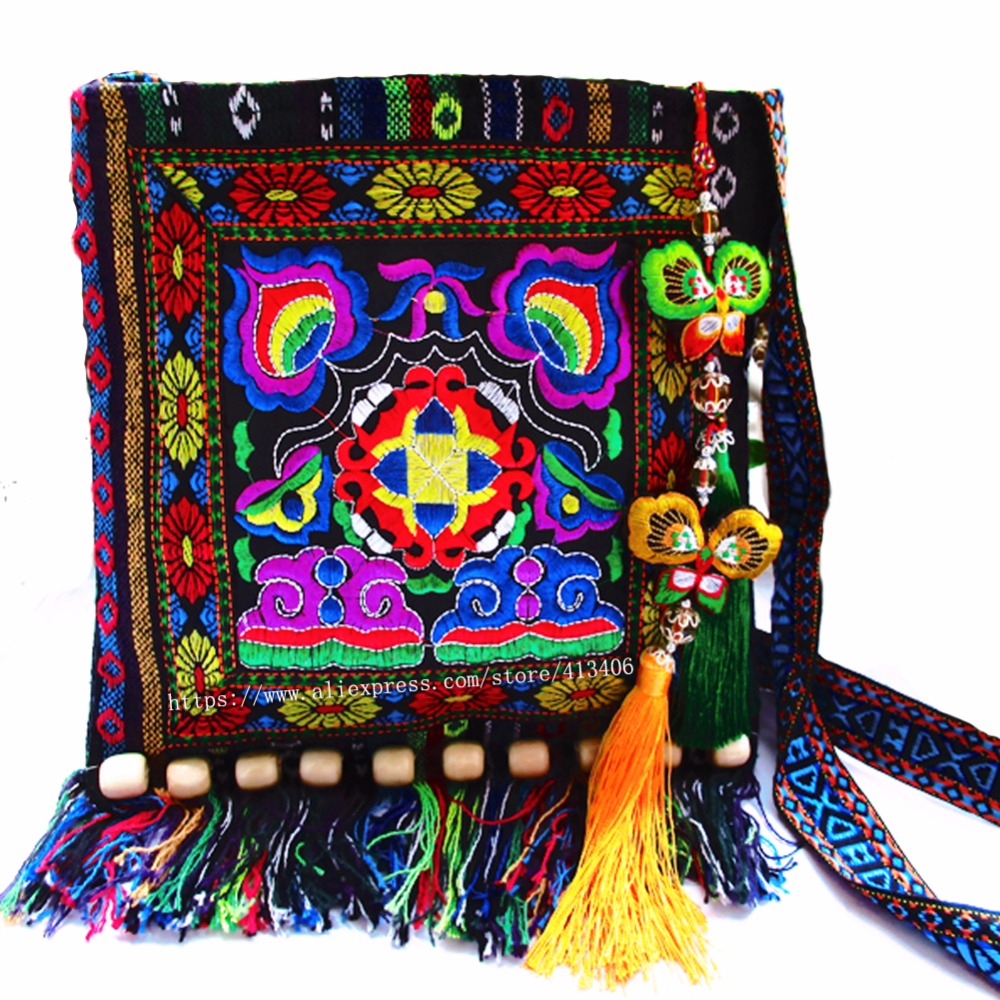 Free shipping fees Vintage Hmong Tribal Ethnic Thai Indian Boho shoulder bag message bag handmade embroidery Tapestry SYS-005G metting joura vintage bohemian ethnic tribal flower print stone handmade elastic headband hair band design hair accessories