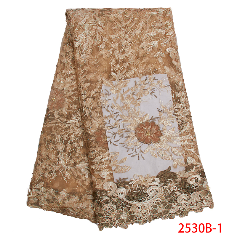 French Lace Fabric High Quality Embroidered African Tulle Velvet Lace Fabric With Beads Nigerian Laces Fabrics KS2530B-1