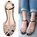 Venda quente nova marca 2014 mulheres da moda sandálias Planas de strass recorte sapatos de verão abertos toe sapatos das senhoras de Alta qualidade