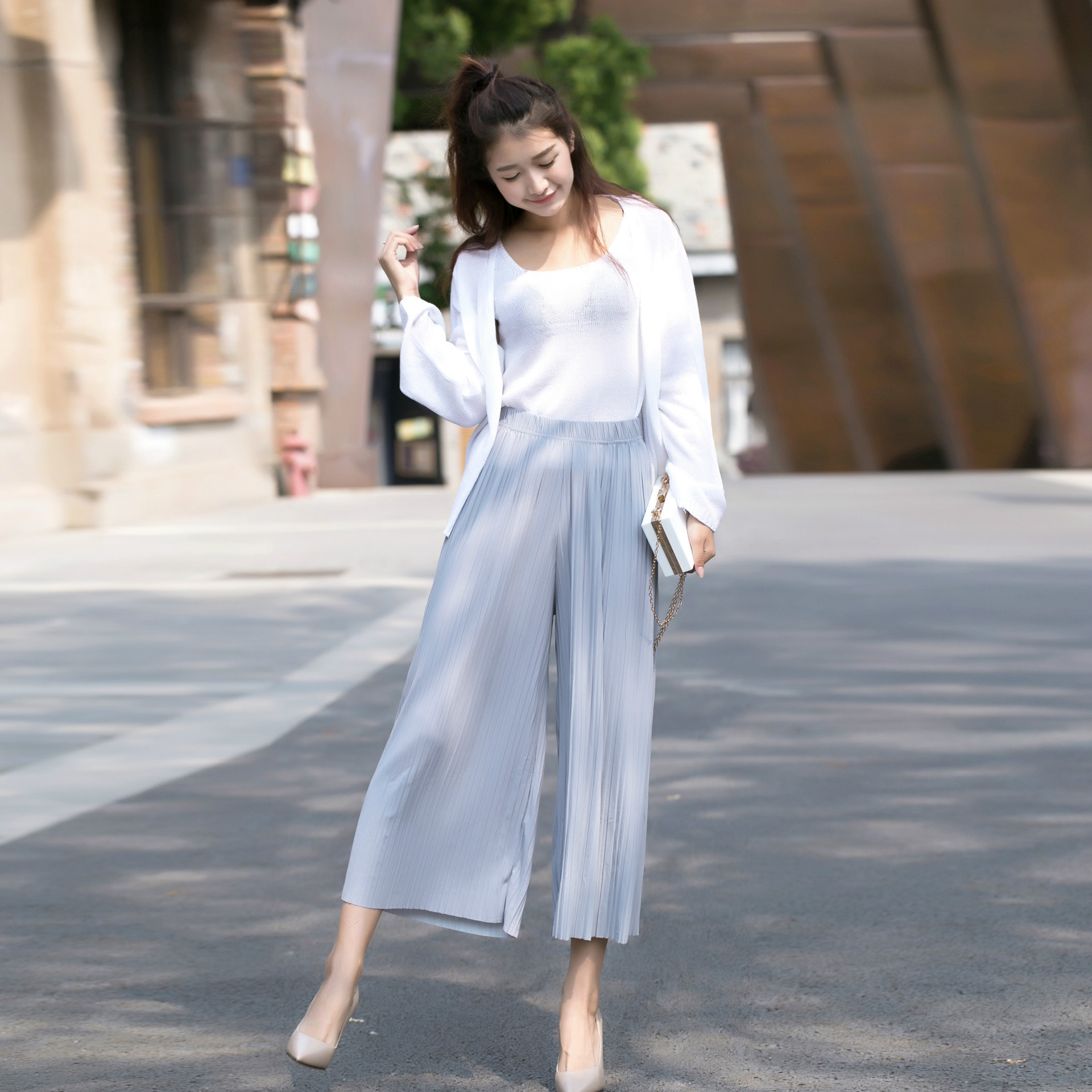 Spring Summer   Pants   Linen Pleated Stretchy   Wide     Leg     Pants   Women High Waist Loose Thin Section   Wide   Range   Leg     Pants   Korean   Pant