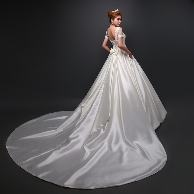Satin Bridal Dresses Detachable Train wedding dress Appliques Lace ...