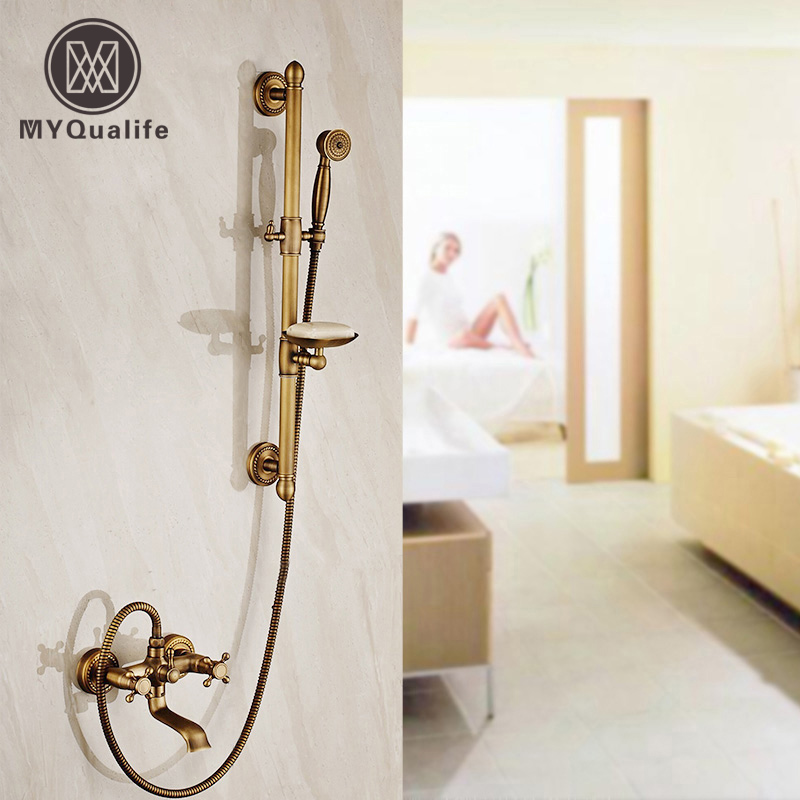 Luxury Wall Mounted Brass Antique Shower Mixer Faucet Dual Handle + Rotation Tub Filler + Sliding Bar + Soap Dish + Handshower shower faucet wall mounted antique brass bath tap swivel tub filler ceramic style lift sliding bar with soap dish mixer hj 67040