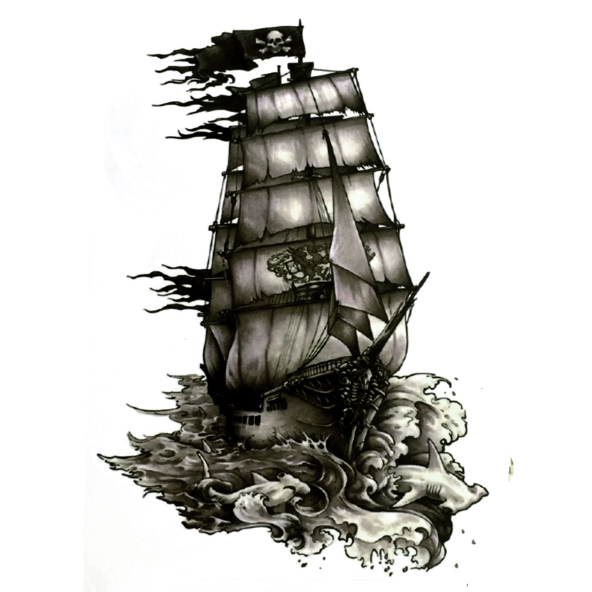 The Black Pearl Pirate Ship Waterproof Temporary Tattoos Harajuku Men Fake Tattoo Hand Made Sticker Henna Tatoo Sleeve Tatuajes