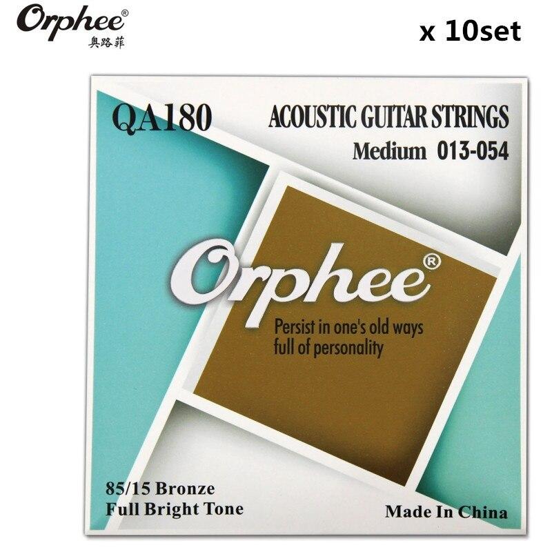 Original Orphee QA180 013-054 Acoustic Guitar Strings 8015 Bronze Hexagonal alloy Vacuum Packaging guitar parts 10 set