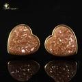 Blue 24k Gold/Rhodium Heart Orange Natural Agate Drusy(Druzy) Stud Earrings for Women 2014 Fashion Jewelry XYE100657IB