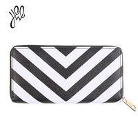 Women Wallets Fashion Black And White Striped Purse Leather Female Hand Bag Brand Design Elegant Ladies