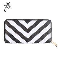 Women Wallets Fashion Black And White Striped Purse Leather Female Hand Bag Brand Design Elegant Ladies