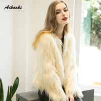 Aikooki Women Faux Fur Winter High End Coats Fur Coat Thicken Warm Fake Fur Women Elegant Long Sleeve Faux Fox Outerwear