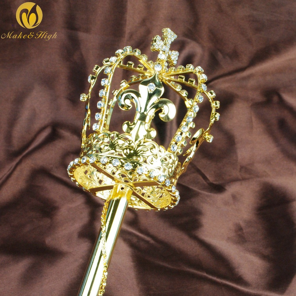 Imperial Medieval Scepters Wand Gold King Sceptres Pageant Party Costumes Props
