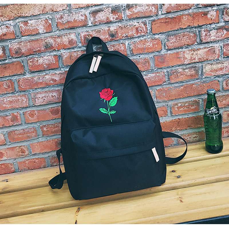 Moon Wood Newest Embroidery Rose Lloral Backpack Men Women's Travel Bags Mochilas Rucksack School Bags For Teenager Girls Boys #4