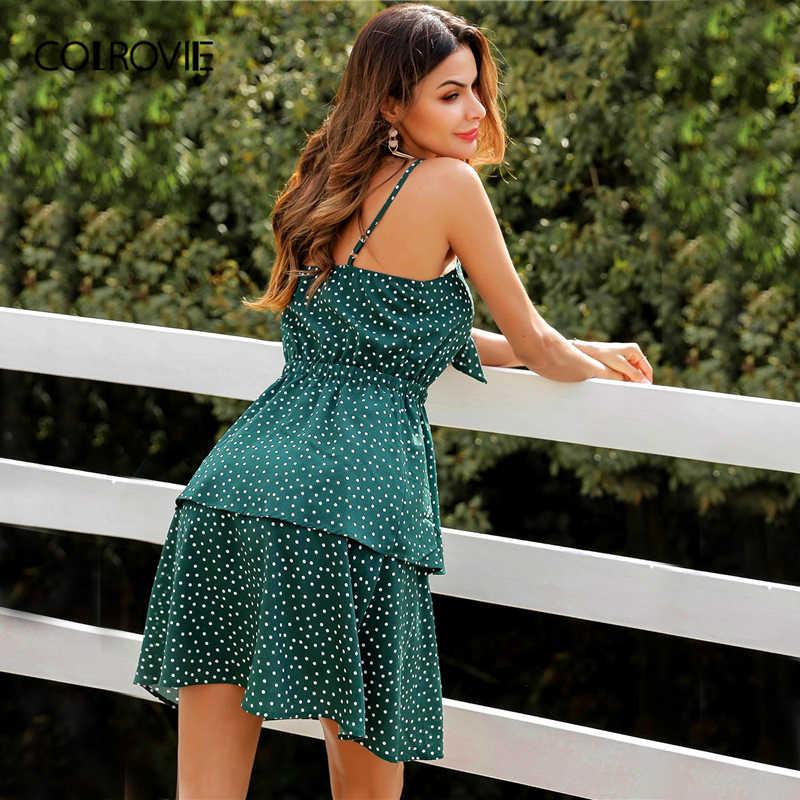 COLROVIE Peekaboo Em Camadas Verde Arco Nó Bolinha Cami Vestido Boho Mulheres Férias de Verão 2019 Cintura Alta Deslizamento Mini Vestidos