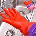 keep warm long sleeve rubber gloves red kitchen wash dishes car cleaning waterproof household glove