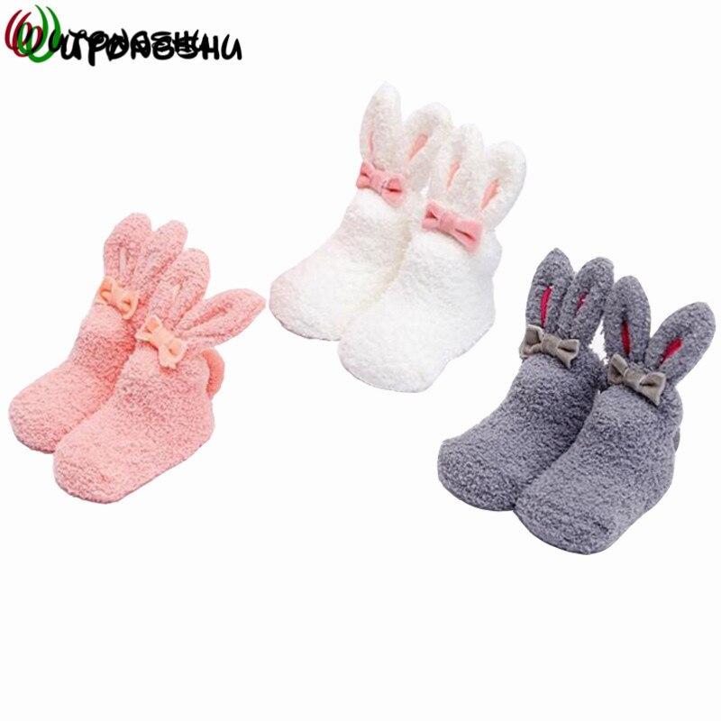 Cute Rabbit Warm Baby Girl Socks Winter Baby Infant Socks Newborn Baby Walking Sock Babysokjes Leg Warmers Kids Socks For 0-3Y