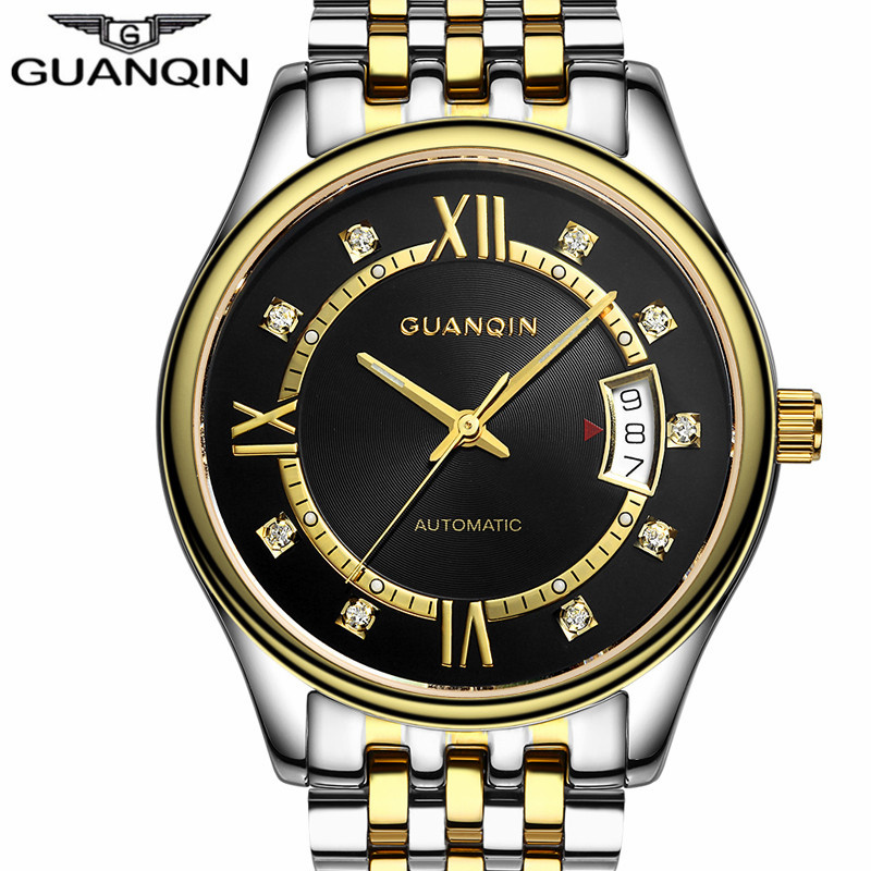 GUANQIN Watch Men Fashion Automatic Self-Wind Mechanical Watches Mens Sport Stainless Steel Luxury Brand Luminous Wristwatch mens watches top brand luxury automatic mechanical tourbillon watch men luminous stainless steel wristwatch montre homme