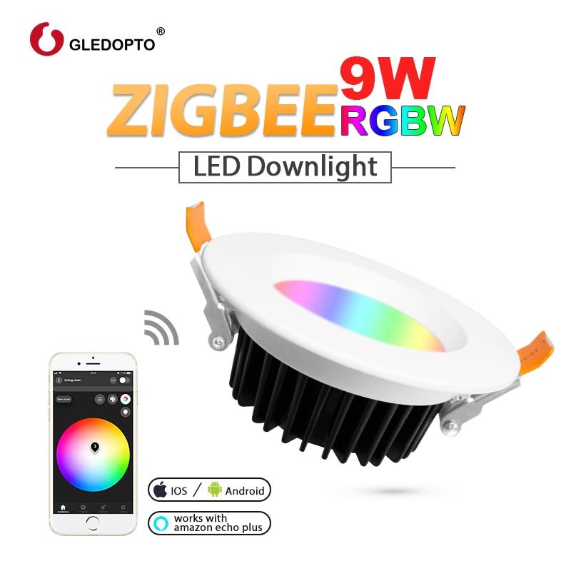 G led OPTO ZIGBEE ZLL smart 9 W led RGBW RGB downlight APP contrôleur avec Amazon plus led ampoule rgb zll dimmable lumière AC100-240V