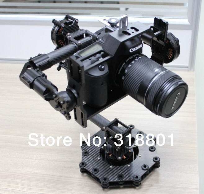 DSLR  3-Axis Brushless Aerial Gimbal/Stablizer w/ controller&motor for DSLR 5D mkiii, GH3, BMCC FPV upgrade debugging edition jiyi fpv g3 3d 3 axis gimbal for gopro hero3 3 hero4 aerial photography