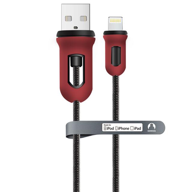 Snowkids mfi cabo do telefone móvel para iphone 6 s 6 plus 5 5S ipad cabo de autorização mfi para iphone projeto armadura de vermelho e preto