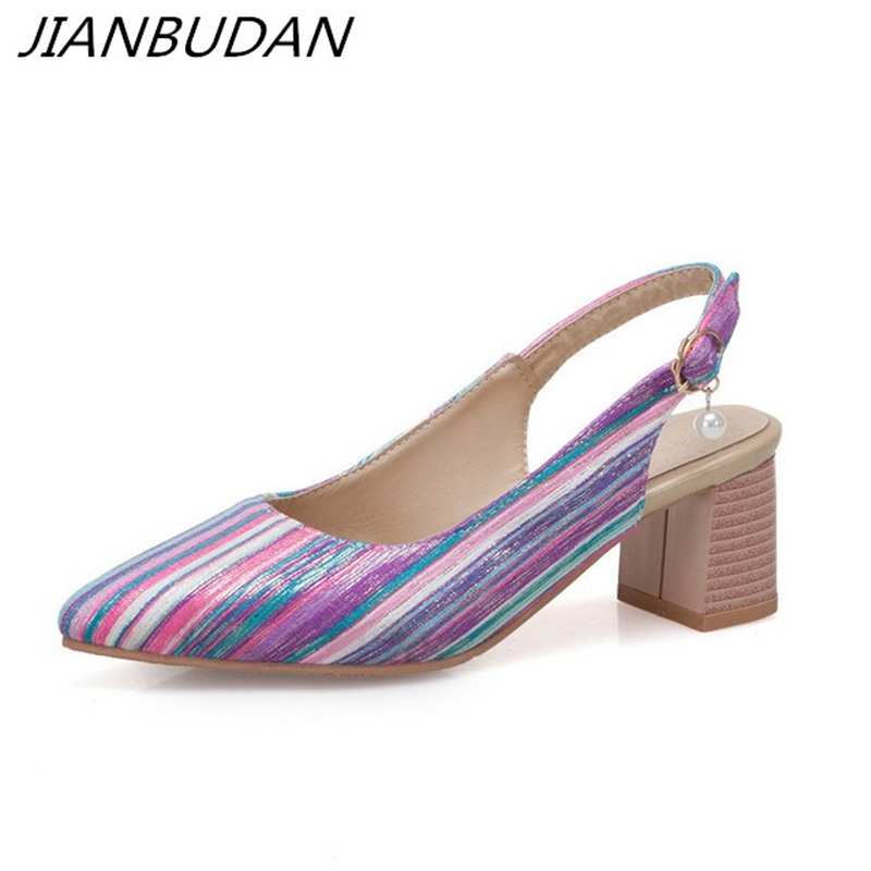 JIANBUDAN Striped fashion Women 39 s summer high heels Pointed Toe elegant Shallow sandals Cloth leisure Large size sandals 34 46 in High Heels from Shoes