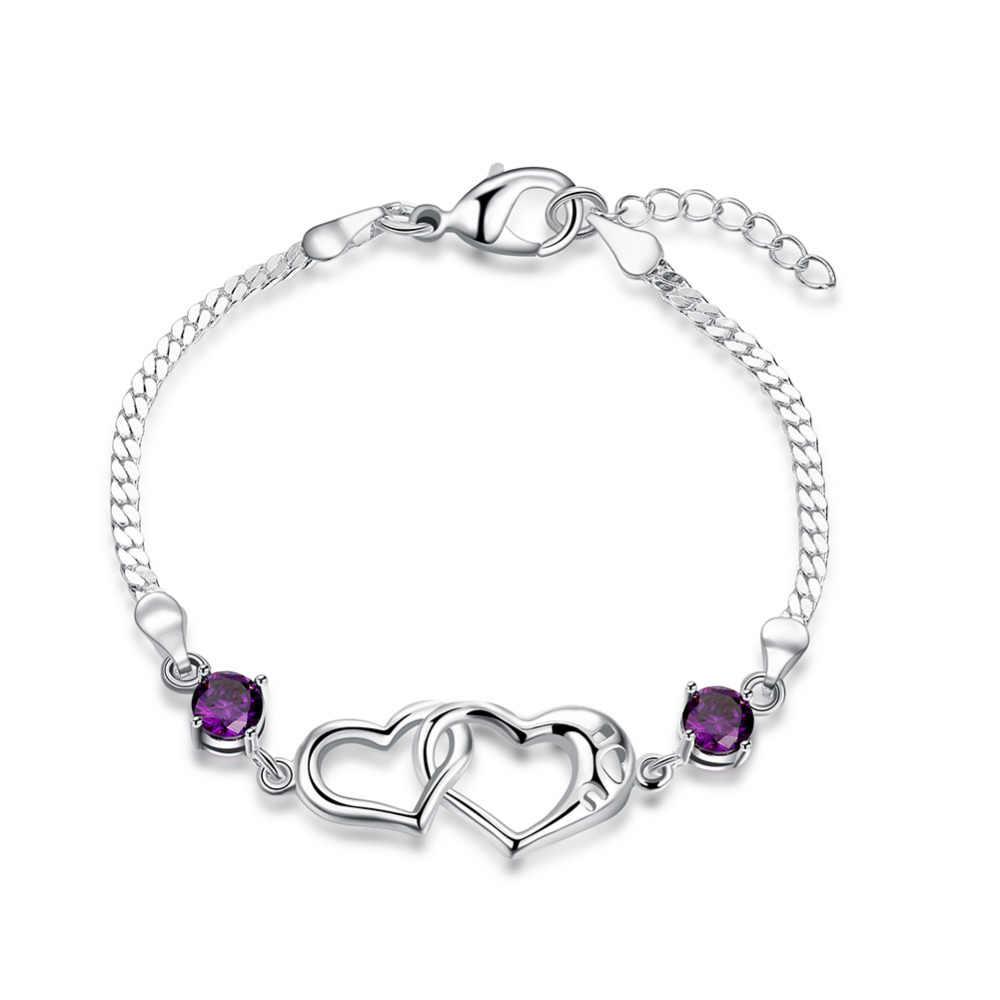 925 jóias de prata para as mulheres casal bonito doce amor coração cruz com roxo zircon pedra encantos liga pulseira pulseiras para mulheres
