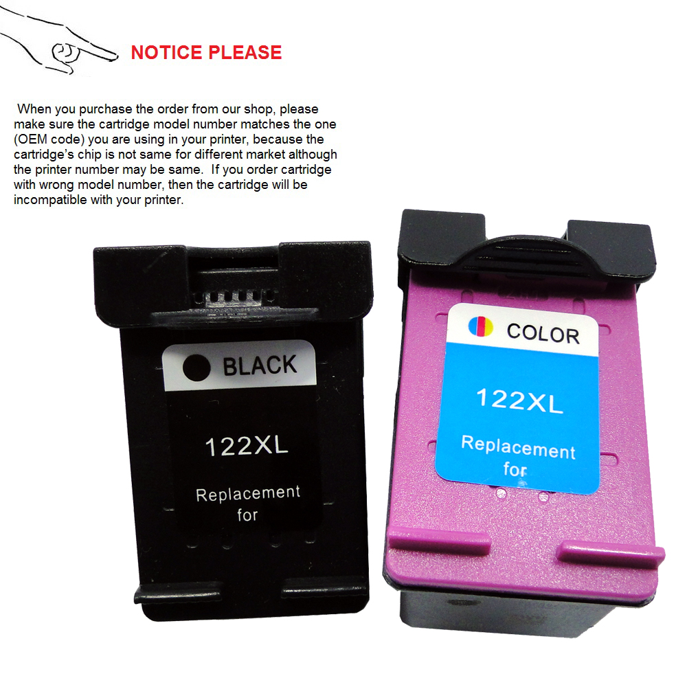 2 pieces Remanufactured ink cartridge for HP 122 for HP122XL CH561HE CH562HE For HP DeskJet 1050