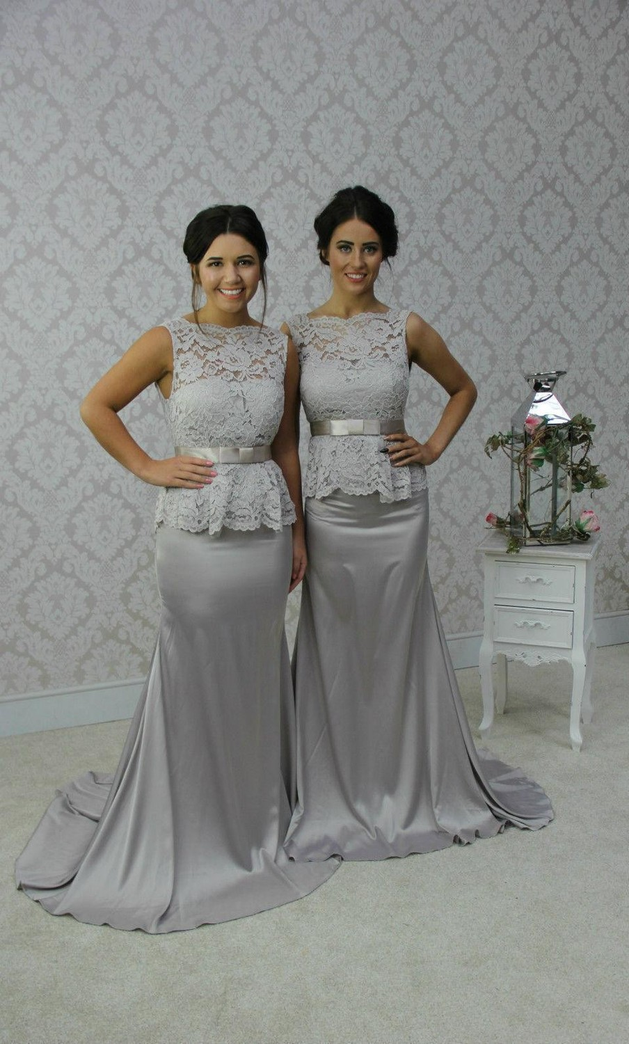 Hot Silver Bridesmaid Dresses 2015 Bateau Neck Mermaid Satin Sleeveless with Ribbon Court Train Backless Party Gowns Custom Made in Bridesmaid Dresses from Weddings Events