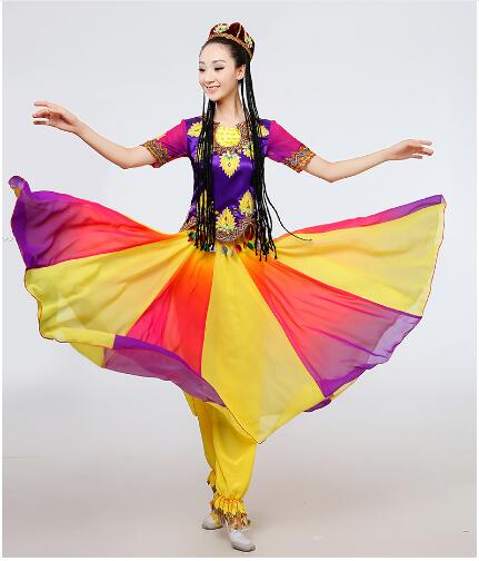 Chinese Folk Dance Big Swing Xinjiang Uighur Ethnic Dance Solo Stage Performance Minority Dance Costumes Chinese Folk Dance Wear Uighur Clothing High Resilience Novelty & Special Use