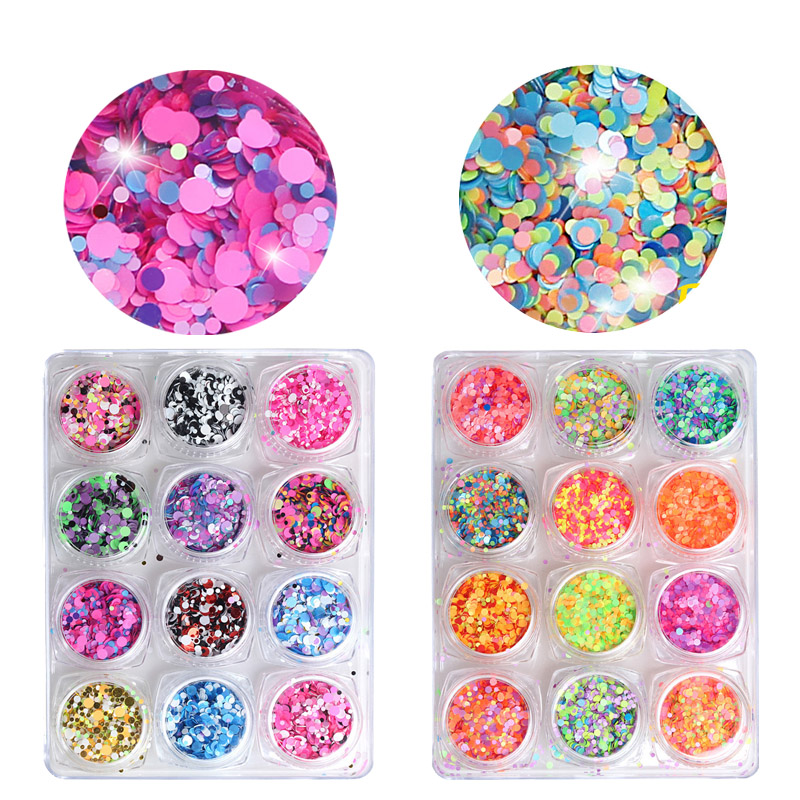 12box/kit New fashion Nail Decoration Colorful Sequins Mixing Mini Round Thin Nail Art Glitter Paillette Nail jewelry DIY Tools 12 grids 0 8mm multicolor nail art caviar beads set gel polish tips diy mini bead decoration fashion jewelry accessory wheel kit