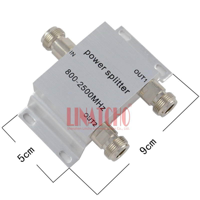 2 way RF Micro-strip Splitter Power 800-2500MHz semnal de telefon mobil Booster Repeater Divider tip N
