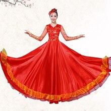 Фламенко платье Испанский танцевальный костюм открытие танцевальное платье Национальный костюм для классических танцев взрослый хор платье-540 градусов