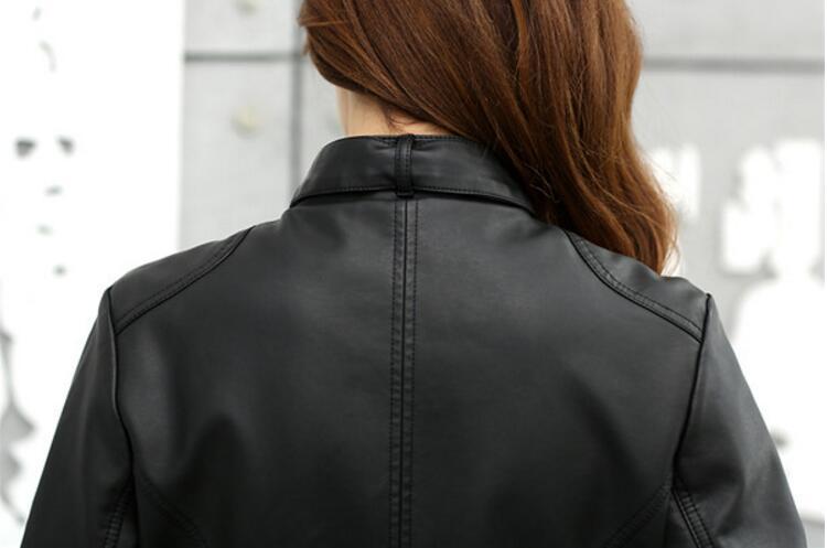 2017 Fashion Nieuwe Vrouwen Jas Europese Mode Lederen Jas Pimkie Schoonmaken Een PU Leer Motorfiets Temale Vrouwen Lit