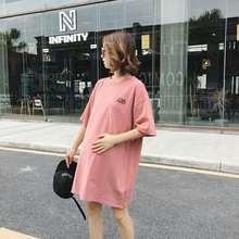 Maternity summer dress T-shirt medium long top short sleeve T-shirt loose cotton skirt fashion 2019 new style цена 2017