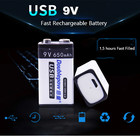 9V USB Rechargeable battery 6f22 9v Smart battery 650mAh Wireless Microphone KTV Instrument use