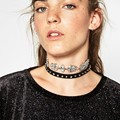 Gothic jewelry Crystal Rivets necklaces pendant  Retro necklace Alse collar 80 S New women choker Double chain necklace