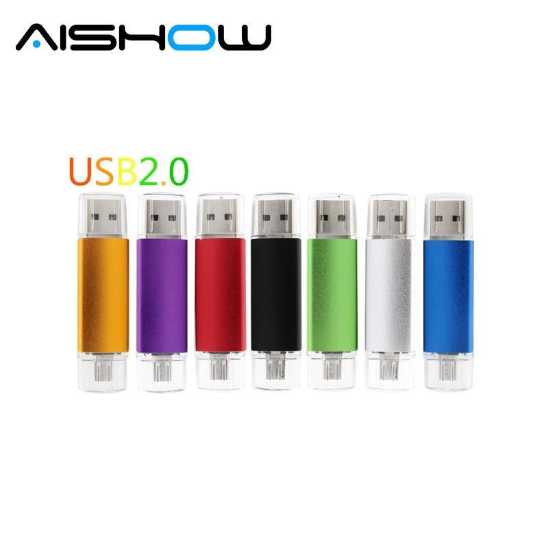 Hotsale Doble Uso Android OTG USB Flash Drive Pen Drive 4GB 8GB 16GB 32GB 64GB 128GB Pendrive USB 2.0 Flash Drive USB Micro palo