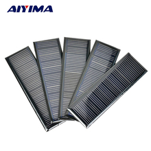 AIYIMA 5Pcs 6 V 0.6 W 0.1 A 120*38mm Poycrystalline Silicon Epoxy Solar Panels for DIY Solar Cells Lamp light Charger