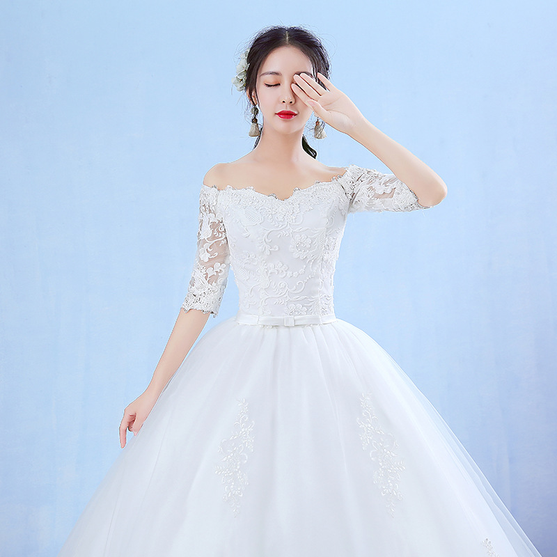 Image 5 - Elegant Boat Neck Half Sleeve Lace 2020 new Wedding Dress  Applique Perspective Custom Made Plus Size Wedding Gown Casamento  LWedding Dresses