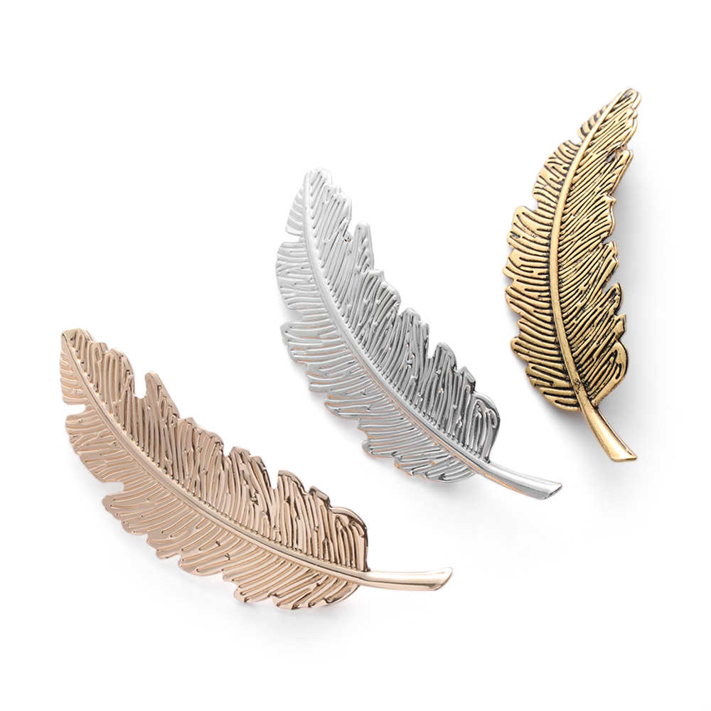 1PC Women Gold/Silver Leaf/Cat/Diamond Feather Hair Clip Hairpin Barrette Hair Styling Tools Lady Hair Accessories