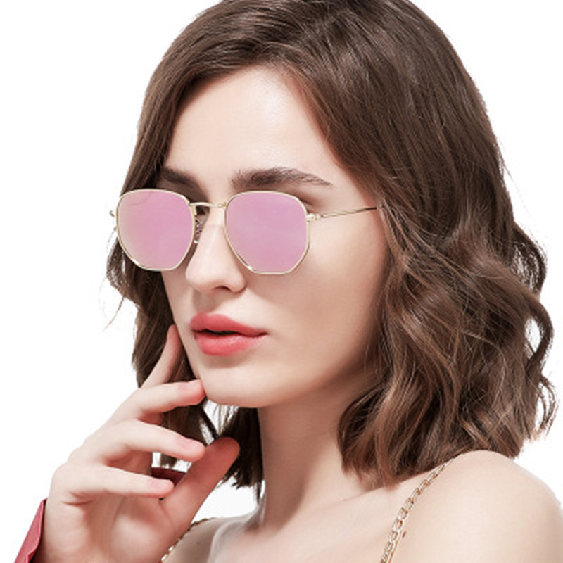 Fashion Sunglasses Women Brand Designer Small Frame Polygon Clear Lens