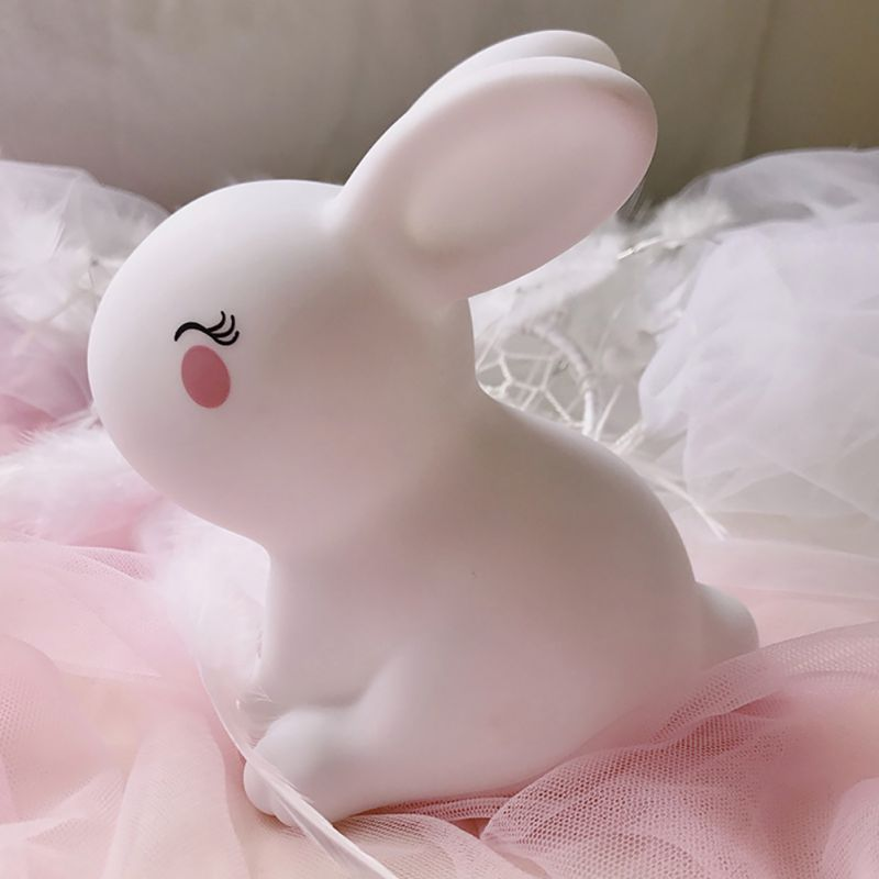 Night Lovely Sleeping Lamp Baby Room Rabbit Cartoon Light Kids Bed Lamp for Gifts цена
